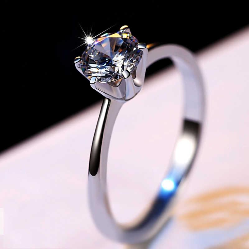 럭셔리 여성 크리스탈 지르콘 스톤 링 실버 컬러 솔리테어 웨딩 밴드 반지 여성을위한 약속의 사랑의 약혼 반지