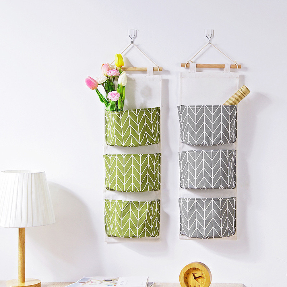 3 Grids Wall Hanging Storage Bag Cloth Sundries Organizer Toys Container Decor Pocket save space home Storage supplie Drop Ship