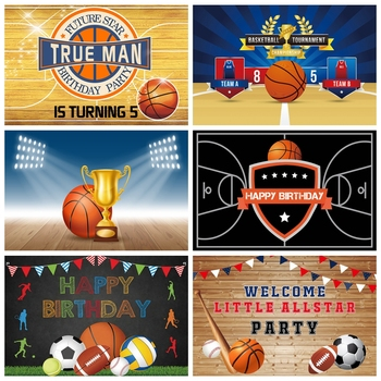 Laeacco Birthday Backdrops Basketball Field Champion Trophy Sportman Baby Shower Newborn Kid Photography Backgrounds Photozone image