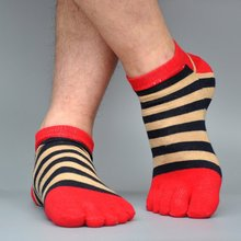 Pure Cotton Toe Sock Five Finger Men Breathable Absorb Sweat Striped Socks Colorful Shining Comfortable Five-finger Casual