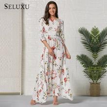 цена на Seluxu 2019 Autumn Women Dress Boho Floral Print Women Dress Round Neck Half Sleeve Long Dress Women Party Dress