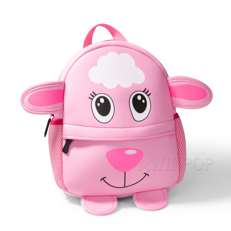 2019 New 3D Pink Sheep School Backpacks Cartoon Animals Design Boys Girls Toddler Kids Neoprene School Bags Mochila Escolar