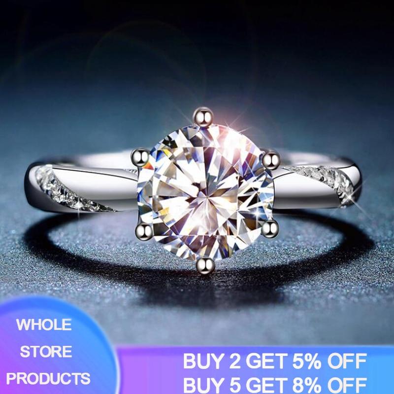 YANHUI With Certificate Whole 925 Solid Silver Rings Women Luxury Style 1ct Zirconia Diamond Fine Jewelry Anniversary Ring ER363(China)