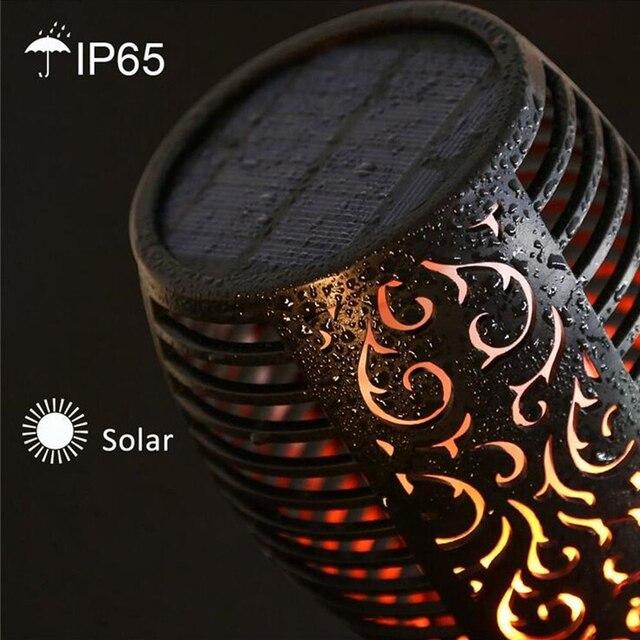 LED güneş alev ışıkları açık IP65 su geçirmez Led güneş enerjili bahçe ışığı titrek alev torch lambası avlu bahçe balkon