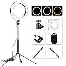 Video Light Dimmable LED Selfie Ring Light USB ring lamp Photography Light with Phone Holder 1M tripod stand for Makeup Youtube led ring light tripod camera photography dimmable selfie video light with phone holder ja55