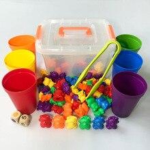 Juego educativo de conteo de osos con pegatinas Montessori, tazas apilables, juego a juego de arcoíris, juguetes de clasificación de colores para niños pequeños