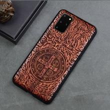 Z litego drewna rzeźba ochronna pokrywa dla Samsung Galaxy S20 FE Ultra S10 Plus uwaga 20 Ultra 10 Plus 5G przypadku tłoczone drewniane Funda