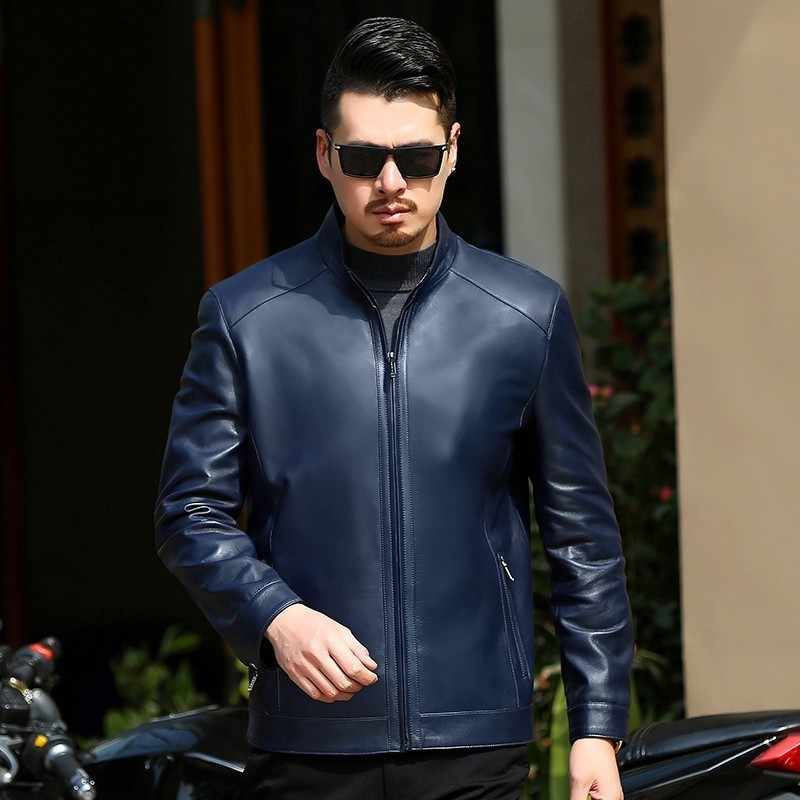 plus size 8XL 7XL  Autumn and winter slim motorcycle Genuine leather coats men's casual coat mens Genuine Leather jacket fashion