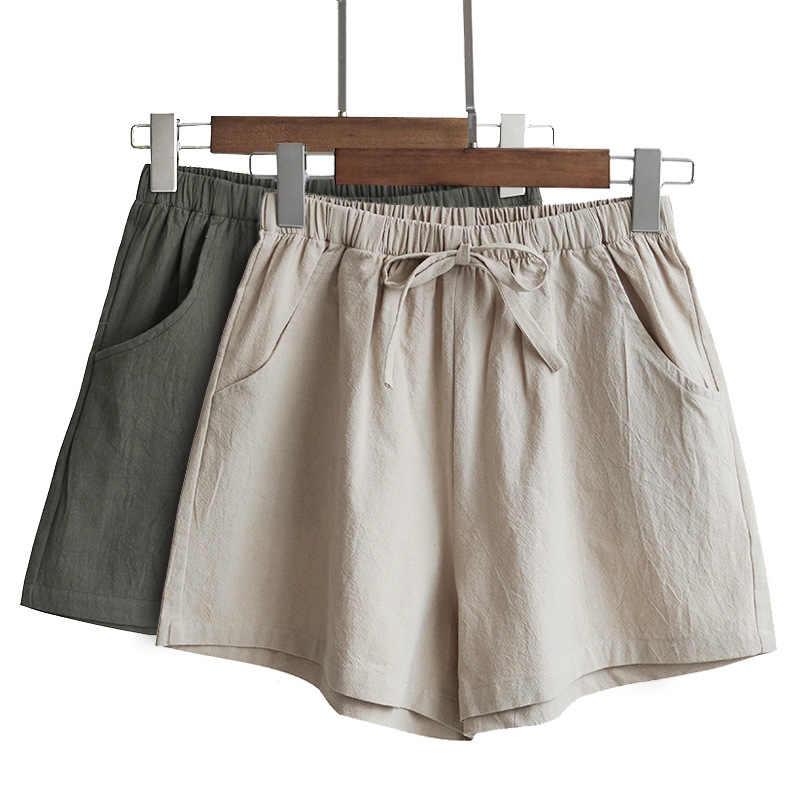 2020 neue Heiße Sommer Casual Baumwolle Leinen Shorts Frauen Plus Größe Hohe Taille Shorts Mode Kurze Hosen Streetwear frauen shorts