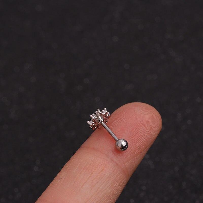 Silver Color Moon Star Flower CZ Cartilage Earrings for Women Party Jewelry Cartilage Piercing Stud Earring Simple Ear Jewelry