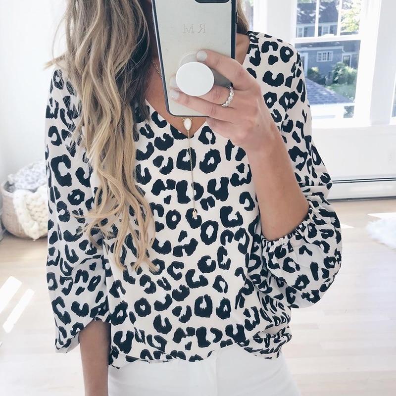 Foridol casual v neck lantern sleeve bloue shirt leopard print plus size blouse tops women autumn winter loose blouse femininas
