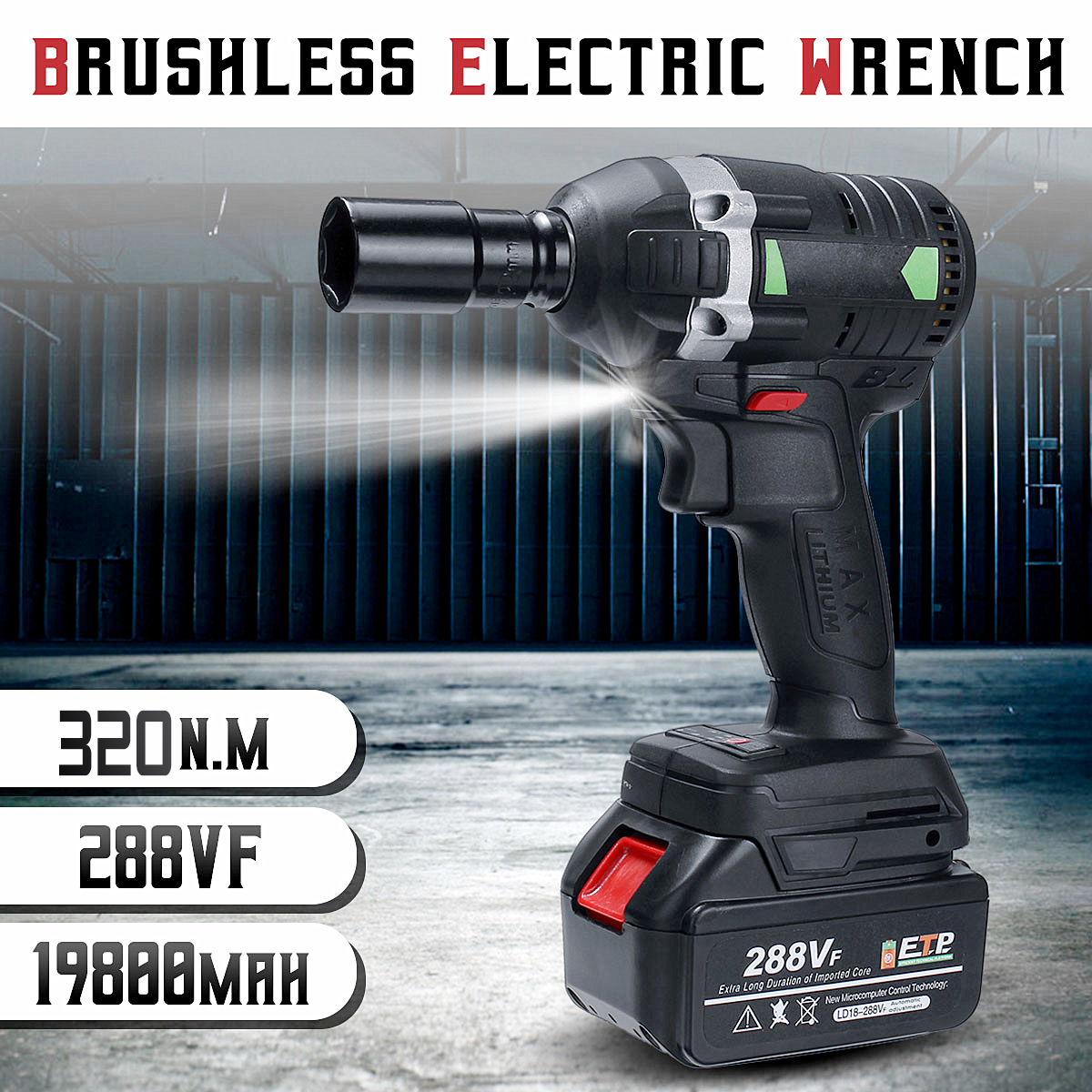110-240V 320N m 288VF Cordless Brushless Electric Impact Wrench Electric Wrench with 1x Li-ion Battery Installation Power Tools