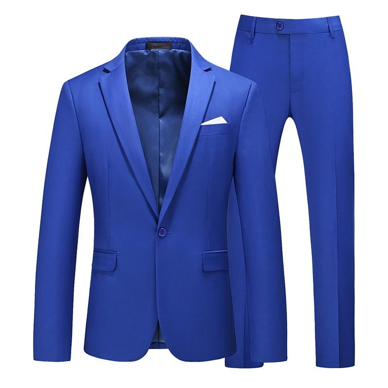 Image 5 - Men suit 2020 New Simple blazer Solid color 2 pcs classic Business Casual slim mens suit multicolor wedding groom tuxudoSuits   -
