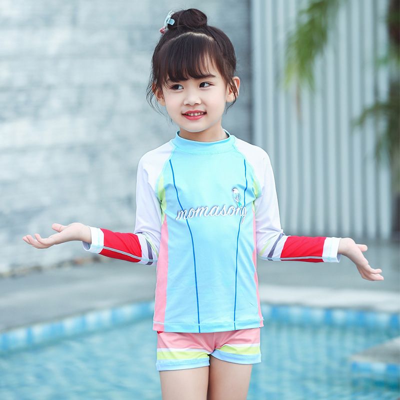 Momasong New Style KID'S Swimwear Girls Long Sleeve Sun-resistant Jellyfish Clothing Split Type Swimsuit Quick-Dry With Cap