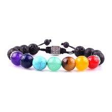 7 Chakra Tree Of Life Charm Bracelets Multicolor Beads Stones Weave Rope Bracelet Women Men Yoga