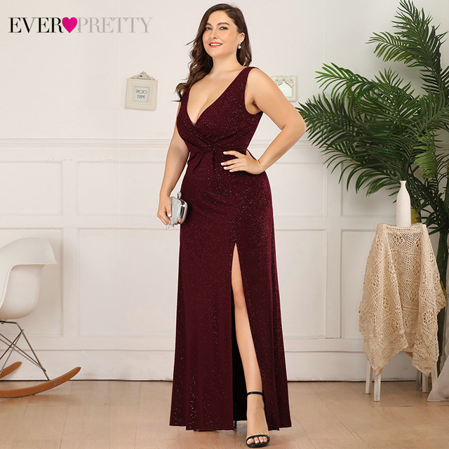 Plus Size Sparkle Evening Dresses Ever Pretty A-Line Double V-Neck Sleeveless Side Split Sexy Formal Party Gowns Robe De Soiree 3