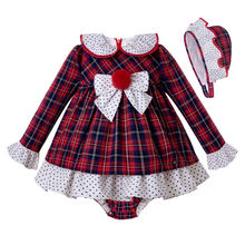 Pettigirl Fall Girl Clothes Sets Red Grid Dress With Bows+PP Pants+ Bonnet Girls Party Outfits Christmas Kids Set G DMCS207 A380