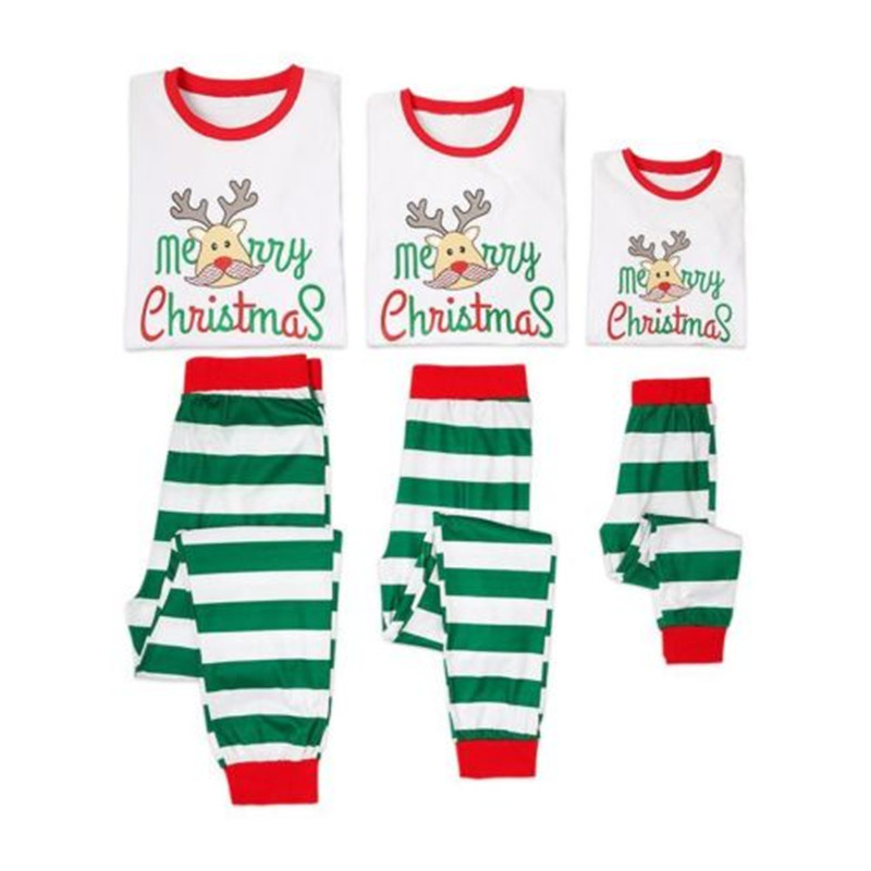 Family Matching Christmas Pajamas PJs Sets Xmas Mom Dad Children Kids Baby Sleepwear Casual Outfit Set Clothes 2PCs