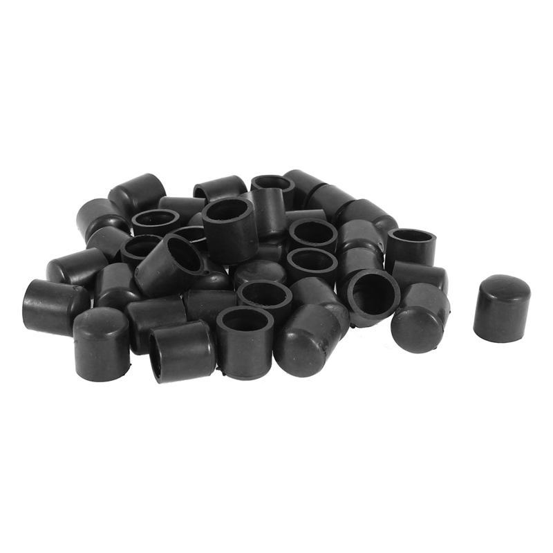 Hot XD-Rubber Caps 40-piece Black Rubber Tube Ends 10mm Round