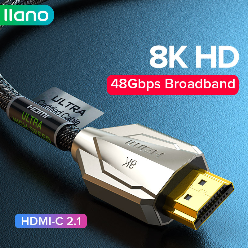LLANO HDMI 2.1 עבור Ps5/Xiaomi תיבה/Xbox סדרת X 3080 HDMI כבל 48Gbps 8K/120Hz 4K/60Hz הדיגיטלי כבלי 8K עבור PS5 RTX3070 VRR