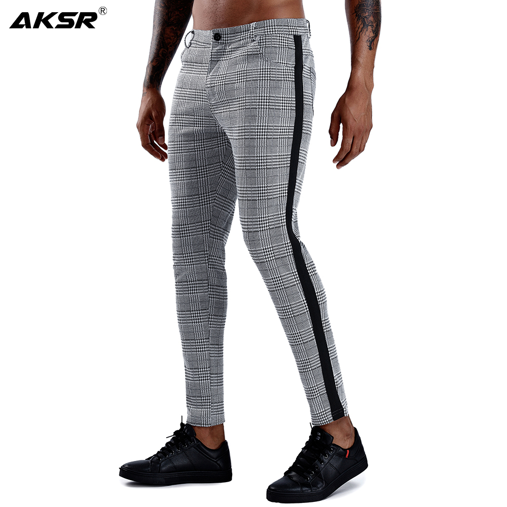 Mens Chinos Slim Fit Men Skinny Chino Joggers Pants Streetwear Super Stretch Pencil Pants for Men Plaid Side Stripe Casual Pants