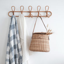 Ins Handmade Rattan Hanger Wall Hooks Clothes Hat Handbag Hanging Hook Crochet Cloth Holder Organizer Hangers for Home Decor(China)