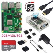 Raspberry Pi 4 Modelo B, 2/4/8GB de RAM, funda, ventilador, disipador de calor, adaptador de corriente, tarjeta SD de 32/64 GB, Cable HDMI compatible con RPI 4B