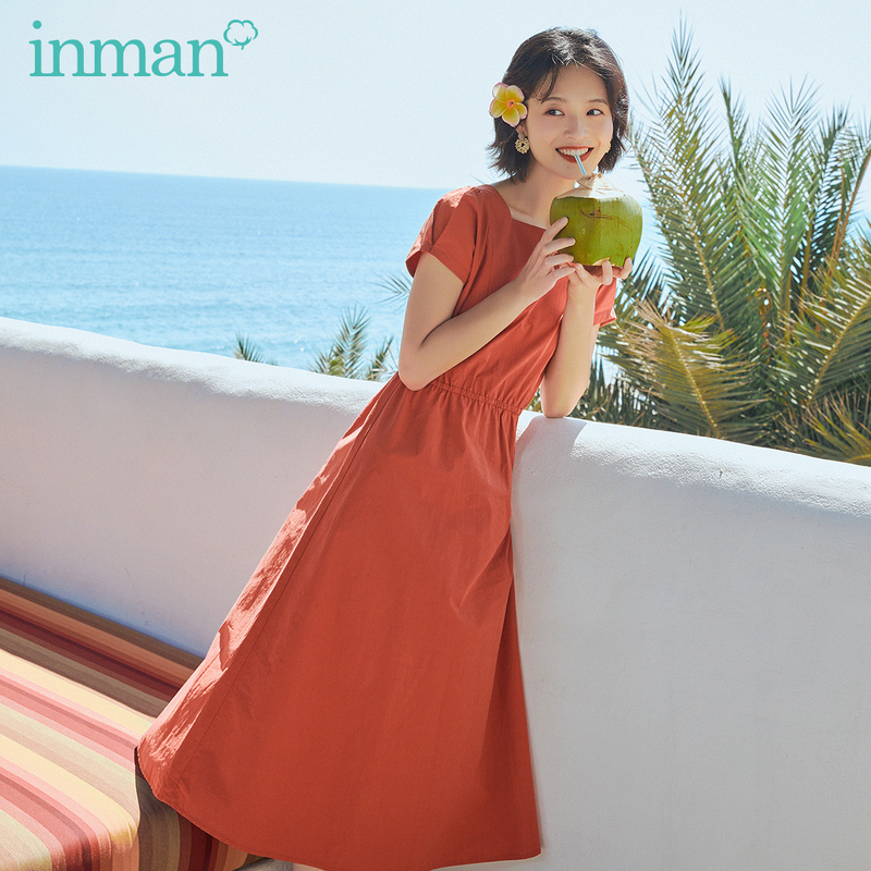 INMAN 2020 Summer New Arrival Vintage Cotton Square Collar Slimmed Sweet Cool Dress