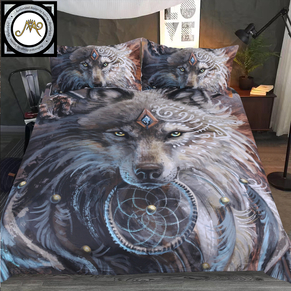 Wolf Warrior By SunimaArt Bedding Set Wild Animal Duvet Cover Feather Dreamcatcher Bed Set 3pcs Tribal Wolf Bedclothes Dropship