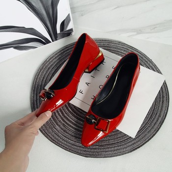 MLJUESE 2020 women pumps autumn spring Cow leather red color metal decoration pointed toe high heels lady shoes party  wedding