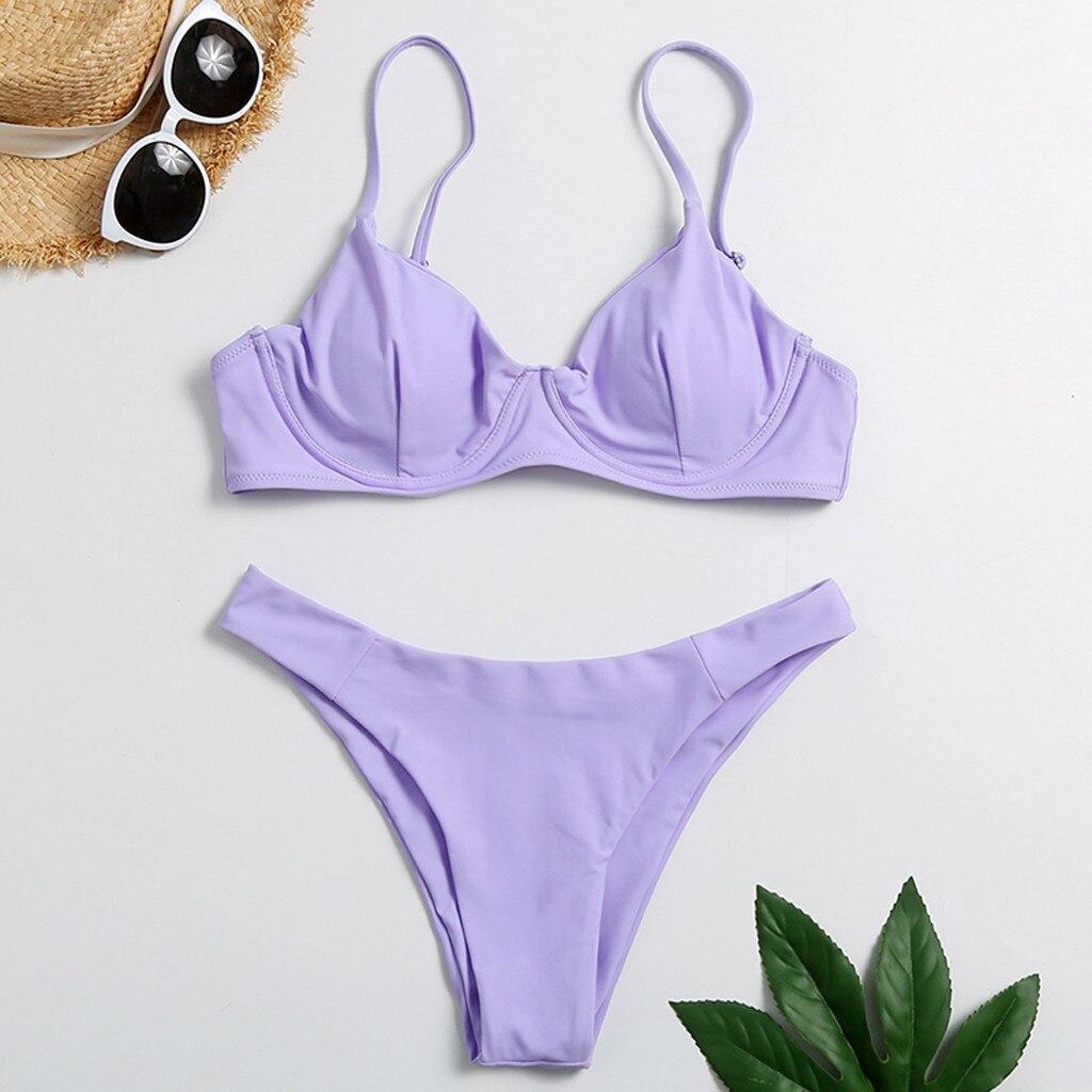 Новинка лета 2020, Женская сексуальная одежда, одноцветная стеганая одежда на косточках, одежда для купания, Бразильская Мода, для отдыха, на каждый день, удлиненная|Комплекты нижнего белья|   | АлиЭкспресс