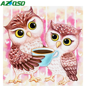 AZQSD Owl Diamond Painting Full Square Cartoon Handmade Full Square Drill Diamond Embroidery Animal Mosaic Home Decor Gift