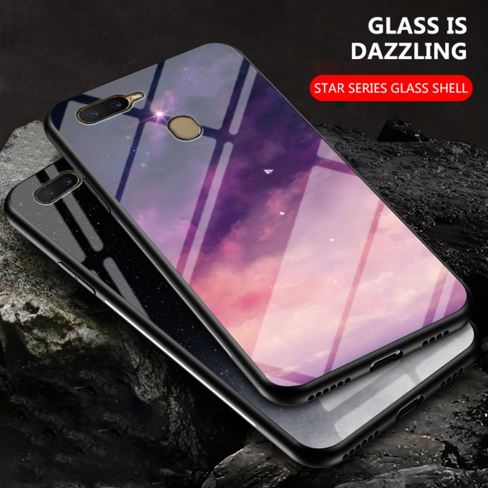 For Oppo A12 A12e A1k A9 A5 2020 A92s A91 A52 A11x A8 A7 A5s A3s Slim Cloud Star Painted Tempered Glass Phone Case Back Cover image