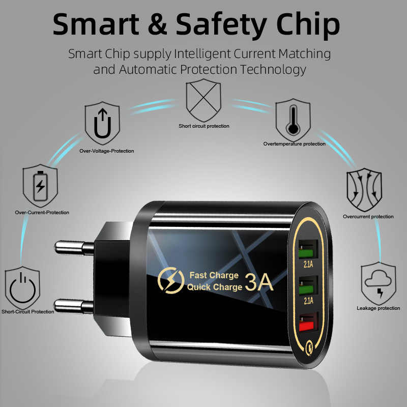 QGEEM 3 USB شاحن آيفون سريعة تهمة 3.0 سريع شاحن هواتف xiaomi QC 3.0 شاحن هاتف محمول محول الشحن