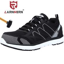 LARNMERN ชายเหล็กความปลอดภัยรองเท้าน้ำหนักเบา Breathable Anti puncture Anti Static ลื่นสะท้อนแสงทำงานรองเท้ารองเท้าผ้าใบ