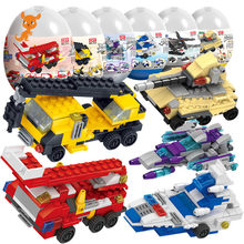 182-203 PCS 6 IN 1 Gashapon Buliding Block Stacking Car Aircraft Brand Block Toys Children Educational Learning Toys Spacecraft