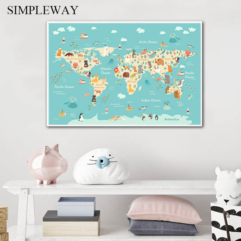 Cartoon Animal Ocean World Map Child Poster Nursery Canvas Print Baby Enlightenment Wall Art Picture Painting Kid Bedroom Decor