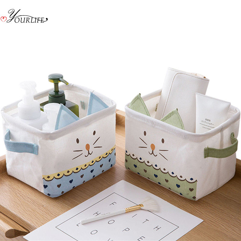 OYOURLIFE Portable Foldable Waterproof Storage Basket Desktop Cartoon Makeup Sundries Jewelry Organization Case Toy Basket