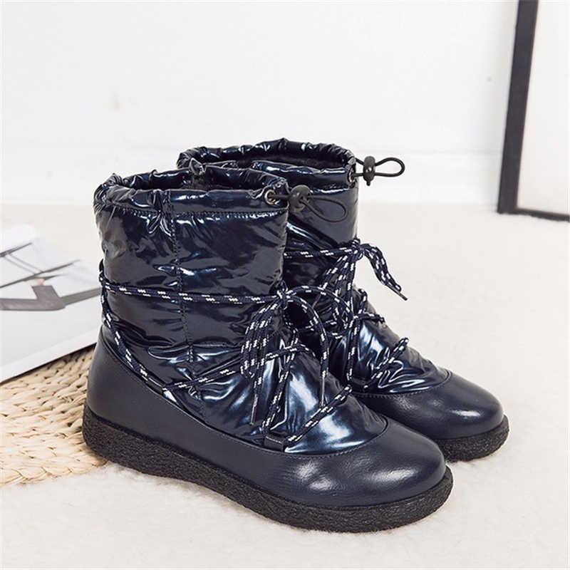 ENPLEI winter Laarzen vrouwen sneeuw bootswaterproof antislip schoenen vrouw enkellaarsjes Dikke Vacht Warm bling schoenen maat 35 -43