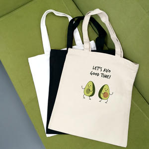 Tote-Bags Canvas Avocado Print Reusable Women Cartoon Cute Bolsa-De-Compras