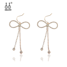 DREJEW Butterfly Bowknot Crystal Statement Earrings Sets Tassel 925 Gold Silver Drop for Women Wedding Jewelry HE7821