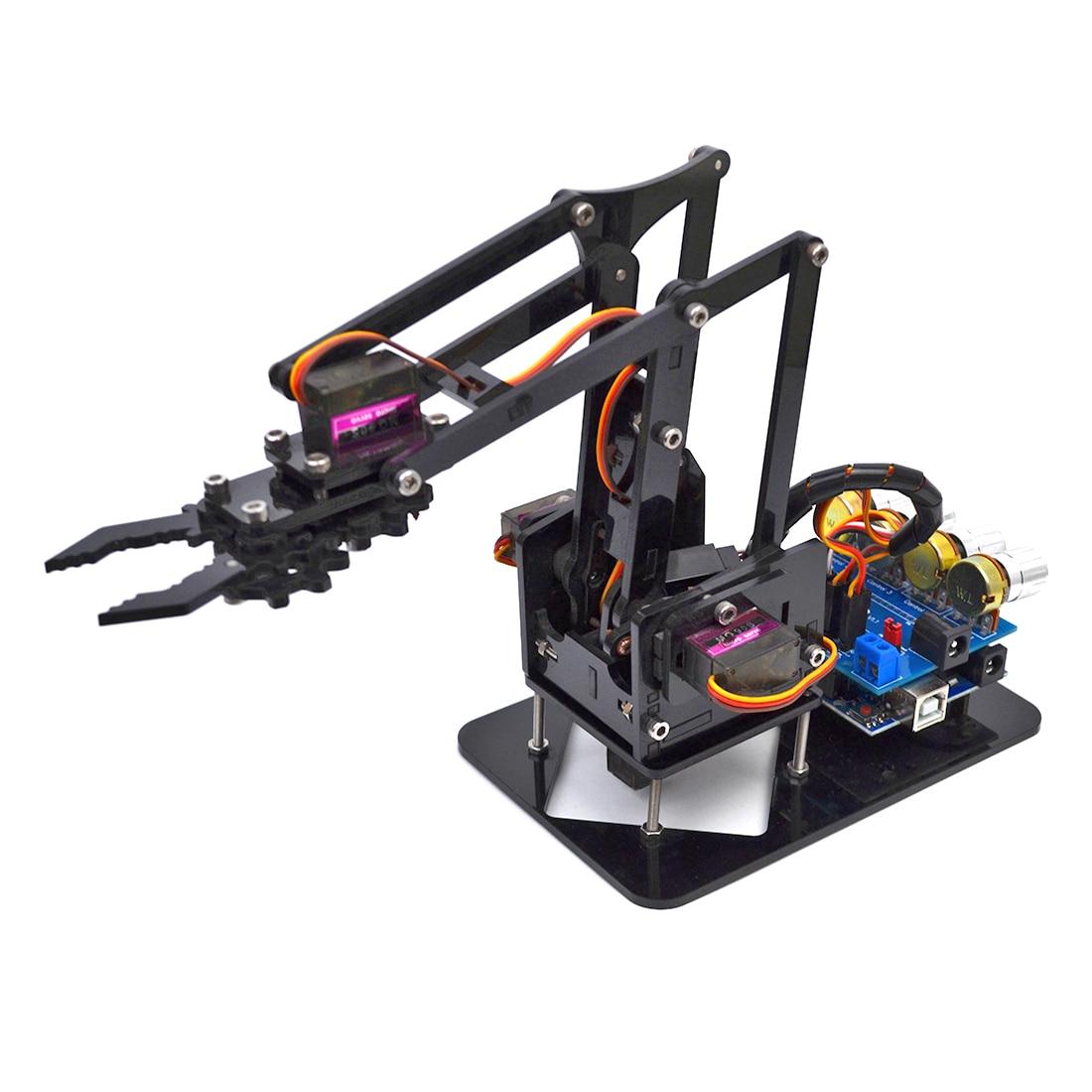 DIY Acrylic Robot Arm Robot Claw For Arduino Kit 4DOF Mechanical Grab Manipulator Programmable Toys