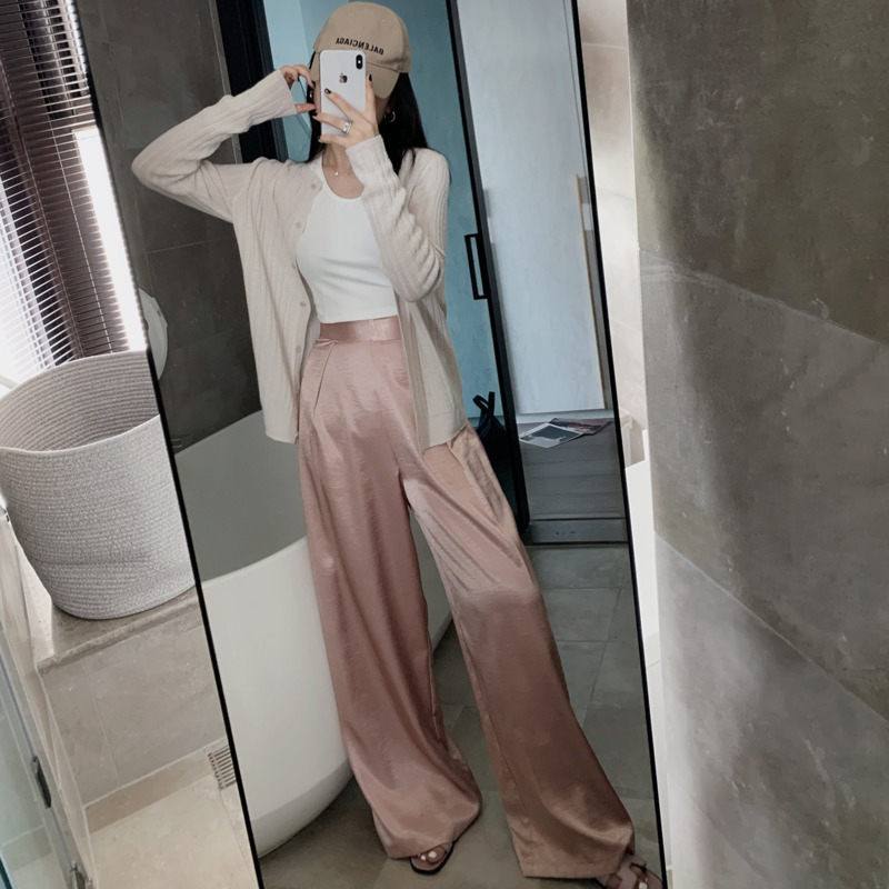 WOMENGAGA Spring Summer 2020 New Ambilight Personality Wide Leg Pants High Waist Slimming Solid Loose Girl Female Trousers  A730