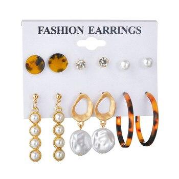 WUKALO Vintage Big Gold Circle Hoop Earrings For Women Clip on Earrings Eye Pearl Heart Earring Set  Brincos Statement Jewelry 5