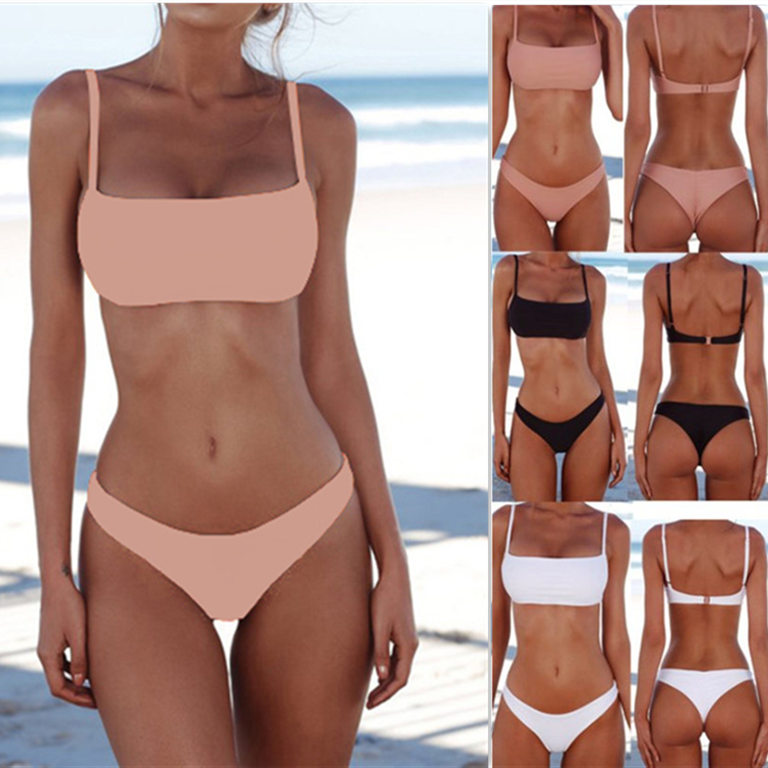 Hot Sale 8 Colors Sexy Solid Thong Two-Piece Bikini Set Swimwear Women Swimsuit High Quality Bathing Suit Female Beach Wear