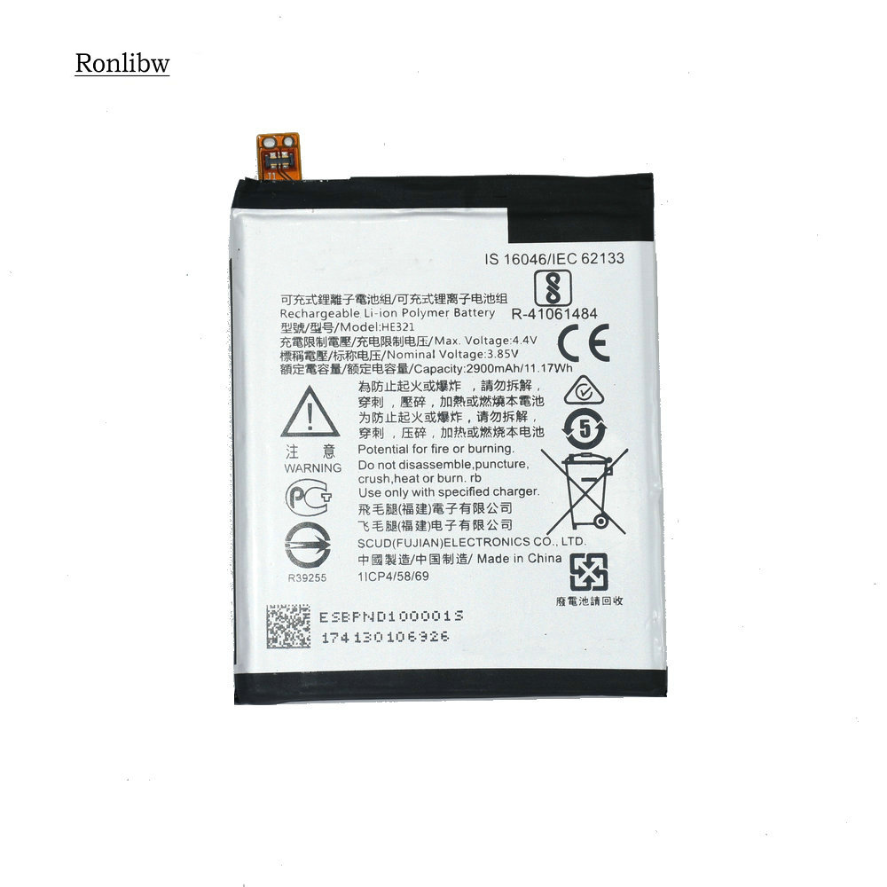 Ronlibw HE321  Battery For Nokia3.1 / 5 TA-1044 Replacement For  5 Dual SIM (TA-1053 DS) 5 Premium Edition Dual SIM HMD Heart