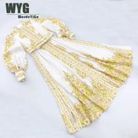 Australia Fashion Runway Dress Ladies High Quality Flowers Print Linen Long Lantern Sleeve Buttons Through Elegant Midi Dresses