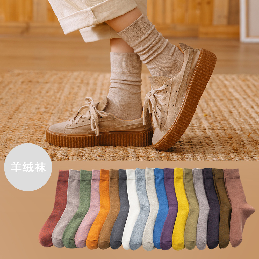 20pairs/set Pure Color High Quality Cashmere Socks Women's Mid Long Tube Socks Autumn and Winter College Style Socks Wholesale