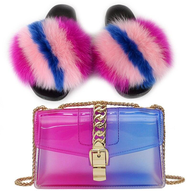 Fur Slides and Purse Set Women Amazing Fur Slippers Lady's Transparent Jelly Chain Shoulder Bags Girl's Rainbow Fur Flip Flops