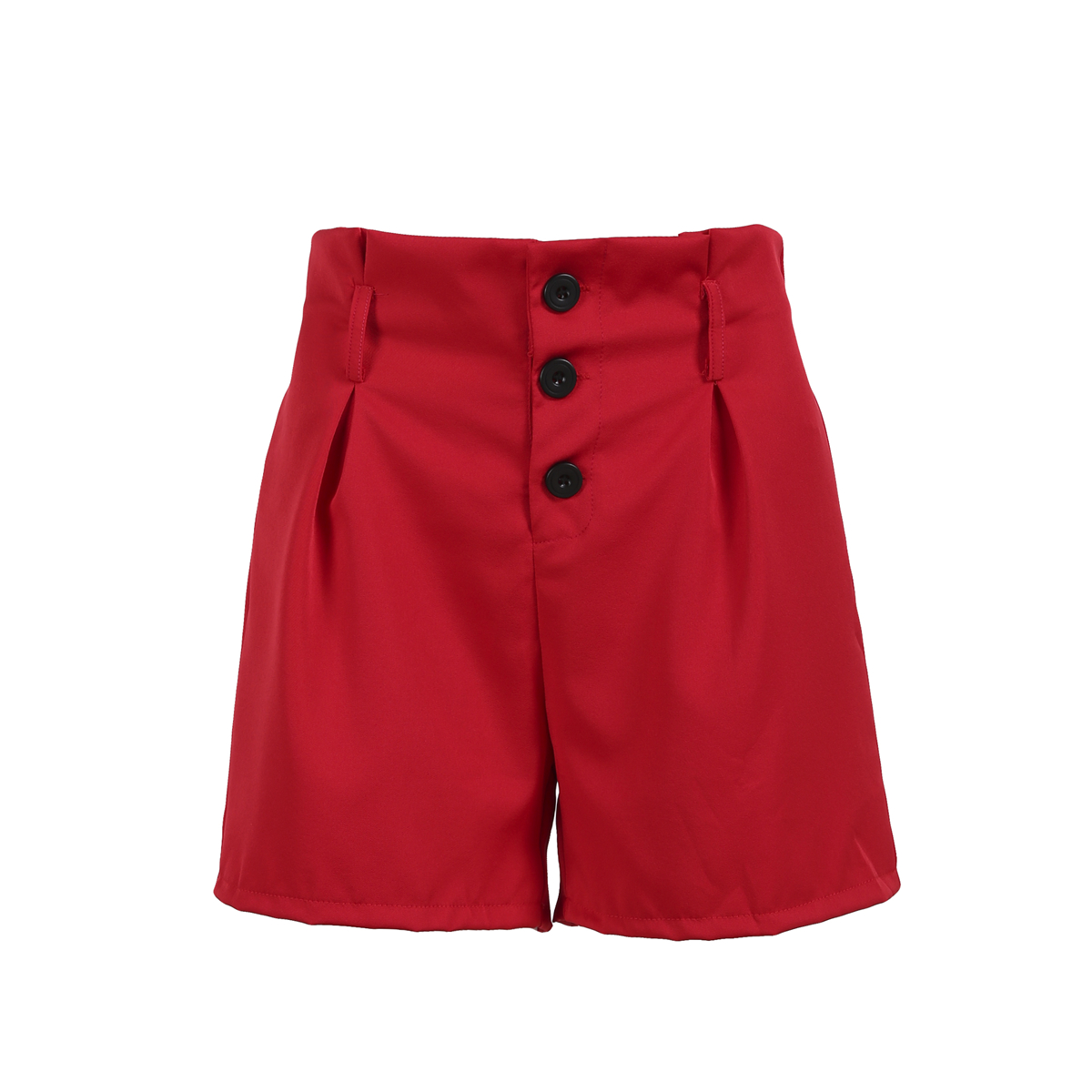 Женские пляжные шорты с высокой талией, повседневные летние пляжные шорты с декоративными пуговицами, спортивные брюки - Цвет: Красный
